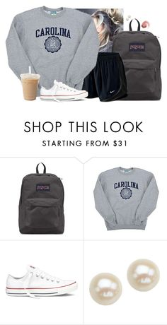 """Messy bun"" by aweaver-2 on Polyvore featuring JanSport, NIKE, Champion, Converse, Honora and NARS Cosmetics"