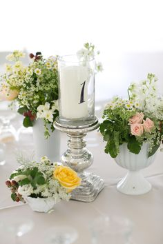 #mercuryglass #tablenumbers florals by Mimosafloral.com photography by gregnesbit.com