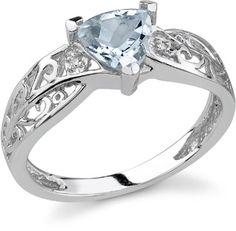 Trillion Aquamarine Ring with Diamonds in 14K White Gold