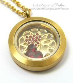 South Hill Designs - Golden Red Locket Close Up Locket Design, South Hill Designs, Golden Red, Origami Owl, Gift Bags, Pocket Watch, Fancy, Lockets, Gifts