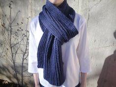 Dark Blue Knit Scarf for Men Long Wide Muffler Wrap by Girlpower, $75.00