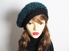Teal crochet beanie  Ready to Ship  Womans knit by TheMastHatter