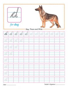 Cursive small letter d practice worksheet