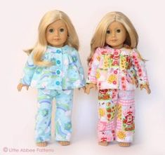 "American Girl Sewing Patterns Free | SEWING PATTERN 18"" Doll Pajamas PDF 72 by Cat mom"