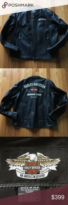 Men's Harley Davidson leather jacket Men's Harley Davidson leather jacket. Body of jacket is genuine leather, inside lining is nylon. Beautiful jacket, worn only once!! Men's size XL Harley-Davidson Jackets & Coats Bomber & Varsity #harleydavidsonleatherjackets