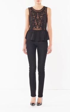 Tank top with embroidery, Black