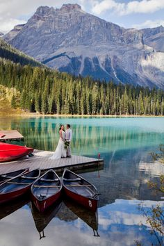 Those Emerald Lake Lodge Views. They have the prettiest and most photogenic dock with all the mountain views reflecting in the lake. Dock Wedding, Wedding Ceremony, Lifestyle Photography, Wedding Photography, Emerald Lake, Time Out, Mountain View, Wedding Inspiration, Wedding Ideas