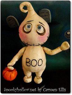 OOAK Halloween clay ghost doll BOO BOO Carmen Ellis