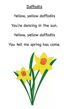 Daffodil poem for first grade Spring Poems For Kids, Poetry For Kids, Art For Kids, Daffodil Craft, Daffodil Day, Spring Song, Spring Art, Spring Crafts, April Poems