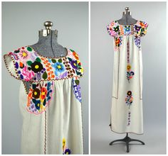 Flores Bonitas | Vintage 1970s Embroidered Mexican Maxi Dress | 70s Floral Gauze Gown by RevengeOfTheDress, $78.00