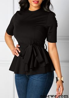 Belted Round Neck Black Short Sleeve Blouse, classic black blouse with little cute design, check it out at rosewe.com.