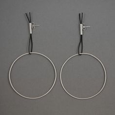Geometric, round, dangle silver earrings. Handmade.