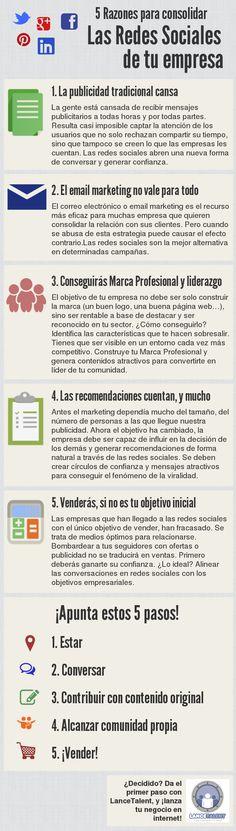 5 razones para consolidar las redes sociales de tu empresa. Infografía en español. #CommunityManager