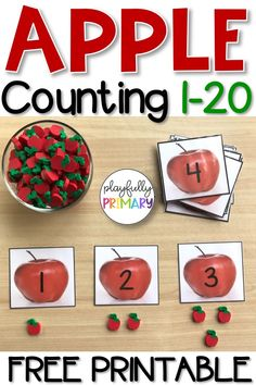FREE TPT RESOURCE! These nonfiction matching cards fit in perfectly with an Apple, Fall / Autumn, Fruit, Farm, or Back to School theme. Preschool and Kindergarten students count the seeds on each card and match it to the correct number. Use these with manipulatives such as mini-erasers, pom poms, beads, or vase filler. Great for math centers, morning work tubs, busy bins, and Montessori. These cards include the numbers 1-20.