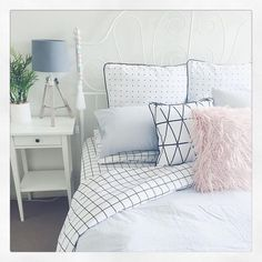 "1,526 Likes, 54 Comments - Daneve-Creative Soul  2 Share (@get_inspired_share) on Instagram: ""Bedroom #inspo by @t.arapaton featuring Kmart fluffy cushion, Grid Linen and fake #Palm plant/pot.…"""
