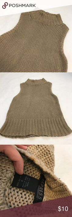 Express Knit Turtle Neck Sleeveless Sweater! In EUC! No flaws that I can find. I just don't wear it enough! Perfect for layering! Tan in color. Size S. Name brand Express. Bust unstretched is approx 15 inches, but there is plenty of stretch available. Has the crocheted look to it. From a clean and smoke free home. LAST PHOTO IS NOT THE SAME PRODUCT!!! Only used for styling tips!! Express Sweaters Cowl & Turtlenecks