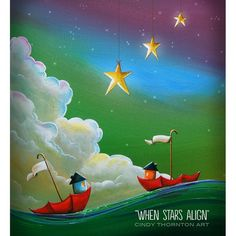Limited Edition - When Stars Aligh - 10 signed prints. #love #illustration #lostatsea #artforkids #umbrella #whimiscal #painting #ocean #sea #sail #boat #stars #night #drift #love #illustration #wave #green #cloud #dreamscape #dreamy #imagination
