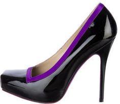 Alexander McQueen Purple and Black Patent Pumps #heels #shoes