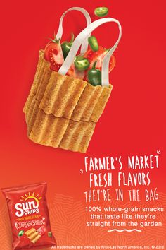 SunChips® Garden Salsa® snacks are the square, wavy, 100% whole grain snacks with flavors inspired by fresh, real ingredients. Even better - these delicious snacking beauties contain 30% less fat than regular potato chips, creating a highly favorable wholesome-to-awesome ratio!