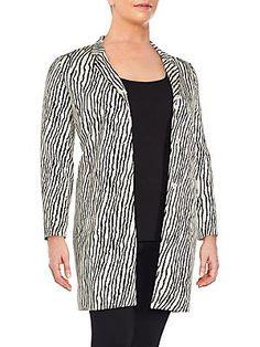 `S MaxMara Falco Zebra Printed Coat - Pearl Grey - Size 14