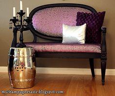 DIY upholestry purple settee