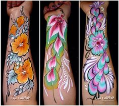 One stroke floral half sleeves. Artist: Livi Lollipop.