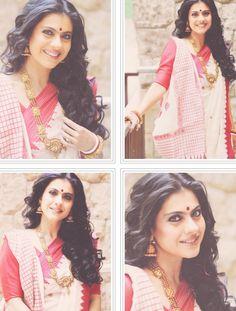 Kajol in a traditional Bengali saree sari Kajol Saree, Bengali Saree, Bengali Bride, Indian Sarees, Indian Celebrities, Bollywood Celebrities, Bollywood Fashion, Bollywood Actress, Indian Attire