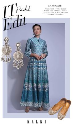 Steel blue anarkali suit in cotton silk with floral printed buttis on the bodice. The kalis enhanced with Jaipuri nature inspired print. Designed with mandarin collar, front placket with buttons and 3/4th sleeves. Slight variation in color is possible due to digital photography due to digital photography. Casual Work Outfits, Work Casual, Stylish Dresses, Formal Dresses, Floor Length Gown, Anarkali Suits, Mandarin Collar, Nature Inspired, Cotton Silk