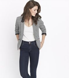 Classic Fitted Houndstooth Blazer With Faux Leather ($35 CAD)