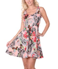 Look at this White Mark Coral Paisley Skater Dress - Women on #zulily today!