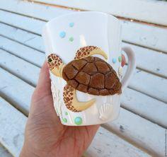 Купить Кружка Черепаха из полимерной глины - бежевый, кружка, черепаха, кружка с черепахой, черепаха на кружке