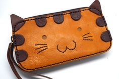 Kitty leather bag Leather Phone case and wallet by sashaleather