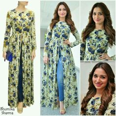 Latest Slit Kurti With Jeans designs 2017 2018 Pakistani Dresses, Indian Dresses, Indian Outfits, Kurta Designs Women, Blouse Designs, Printed Kurti Designs, Indian Attire, Indian Wear, Indian Style