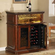 The Tresanti Rosemont wood furniture  wine cabinet is the ideal companion to any wine lover's home collection! By concealing storage compartments and serving surfaces with spring-loaded locking doors this cooler will enhance the appearance of any room.  A top lid drops down to reveal an interior lighted stemware rack so you can keep all your glasses close at hand. The area also has room for wine gadgets and accessories while displaying a full mirrored back.