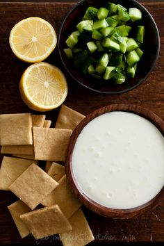 Creamy Whipped Feta Dip with Mint Parsley Pesto and Cucumbers from Gourmande in the Kitchen
