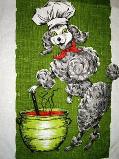 Linen Kitchen Towel Tea Coffee Cup Towel Poodle Chef Bright Green Red Dog Animal Print MCM Vintage