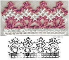 World crochet: Crocheted lace 61 World crochet: Crocheted lace 61 Learn the basics of how to needlew Crochet Edging Patterns, Crochet Lace Edging, Crochet Borders, Crochet Diagram, Crochet Chart, Lace Patterns, Thread Crochet, Crochet Trim, Irish Crochet
