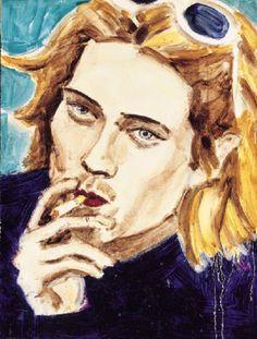 """""""Kurt Smoking"""" (1995, óleo sobre masonite, 30.5 x 22.8 cm, Colección particular), de Elizabeth Peyton."""