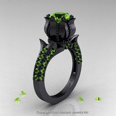 Classic 14K Black Gold 1.0 Ct Peridot Solitaire Wedding Ring R410-14KBGP on Wanelo