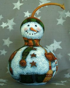 Frosty Friends, cute snowmen with cardinals, hand painted gourd, 9 inches tall on Etsy, $65.00