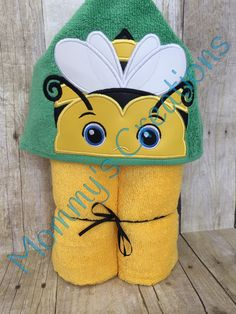 "Boy Bumblebee Applique Hooded Bath, Beach Towel 30"" x 54"" by MommysCraftCreations on Etsy"