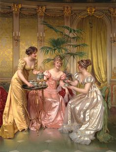 Afternoon Tea for Three by Charles Joseph Frederick (1825-1879) Soulacroix Painting