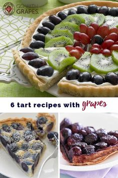 From a frangipane tart to a fruit pizza with sugar cookie crust, try these six tart recipes with grapes from California for some berry good pastry ideas.  Other tart dessert recipes include Grape Tarte Tatin, Grape Green Yogurt Tart, Rustic Grape Tart, and Crisp Grape Tarts. #GrapesAreBerries #tarts #fruittarts #berrytarts #grapetarts #easyberrytarts #tartrecipes #pastries #pastryrecipes #dessertrecipes #berryrecipes #easydesserts #bakeddesserts #grapes #berries #berry Fun Baking Recipes, Pastry Recipes, Tart Recipes, Best Dessert Recipes, Easy Desserts, Delicious Desserts, Cooking Recipes, Breakfast Recipes, Frangipane Tart