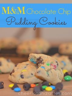 M&M Chocolate Chip Pudding Cookies; perfect for your Halloween leftovers!