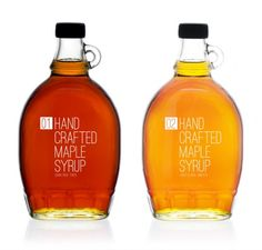 """Maple Syrup comes in different intensity grades, the numbers denote how strong or weak a grade of maple syrup is. The bottle is one typically used to package hand crafted maple syrup yet the typography is modern simple and classic – It's not a sales pitch, just pure unaltered product."""