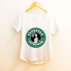 Expresso Patronum Starbucks Shirt - Harry Potter Polyester Thin Shirt Women - Wizard Tumblr S, M, L, XL. XXL by WolfFawn on Etsy https://www.etsy.com/listing/265506377/expresso-patronum-starbucks-shirt-harry