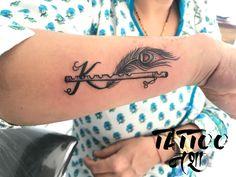 name tattoos On Hand is part of Hand Name Tattoo Ideas Joaoleitao Com - krishna tattoo name tattoo with flute feather with flute tattoo name with flute tattoo by anurag chouhan nasha Name Tattoo On Hand, Name Tattoos, Music Tattoos, Body Art Tattoos, Small Tattoos, Sleeve Tattoos, Forearm Tattoos, Tatoos, Peacock Feather Tattoo
