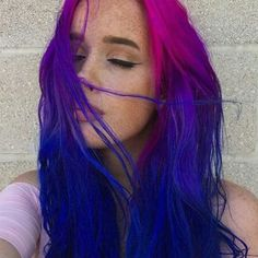Description Colored hair and other amazing hairstyles and things i like. Pink And Black Hair, Blue Ombre Hair, Pink Hair, Pink Purple Blue Hair, Hot Hair Colors, Cool Hair Color, Hair Color Streaks, Hair Highlights, Dye My Hair
