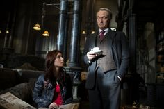 Still of Jared Harris and Lily Collins in The Mortal Instruments: City of Bones