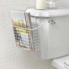 Spectrum Diversified Designs Grid Over the Tank Magazine Holder - Great idea for a tiny bathroom - Diy Magazine Holder, Magazine Racks, Bathroom Organisation, Bathroom Ideas, Bathroom Inspo, Clever Bathroom Storage, Bathroom Remodeling, Closet Organization, White Bedding